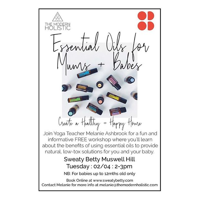 CREATE A HEALTHY + HAPPY HOME :: I have a fun and informative workshop @sweatybetty_muswellhill on Tuesday 2nd April, 2-3pm. For mums + babes (up to 12mths). ⠀⠀⠀⠀⠀⠀⠀⠀⠀ You'll learn how to create a more holistic, low-tox environment at home using the power of pure essential oils. Natural, everyday solutions for toiletries, cleaning products, mum + baby care, supporting emotions and so much more! ⠀⠀⠀⠀⠀⠀⠀⠀⠀ Please come along or share with someone you know who has a young baby. It's so important we reduse the toxic load for all of us but ESPECIALLY babies and young children. ⠀⠀⠀⠀⠀⠀⠀⠀⠀ #healthyhappyhome ⠀⠀⠀⠀⠀⠀⠀⠀⠀ ⠀⠀⠀⠀⠀⠀⠀⠀⠀ ⠀⠀⠀⠀⠀⠀⠀⠀⠀ ⠀⠀⠀⠀⠀⠀⠀⠀⠀ ⠀⠀⠀⠀⠀⠀⠀⠀⠀ #mumsandbabes #whatsonmuswellhill #muswellhillmums #healthyhappyhome #lowtoxliving #sustainableliving #ecosolutions #detoxyourhome #naturalliving #holisticlife #healthybabies #happymums #detoxyourhome #ditchtoxicproducts #sweatybetty #sweatybettymuswellhill #northlondonevents #themodernholistic #doterraworkshops #aromatherapy #essentialoilworkshops #yogateacher #myholisticlife #naturalbabies #calmbabies #simplicity #ease #bethechange