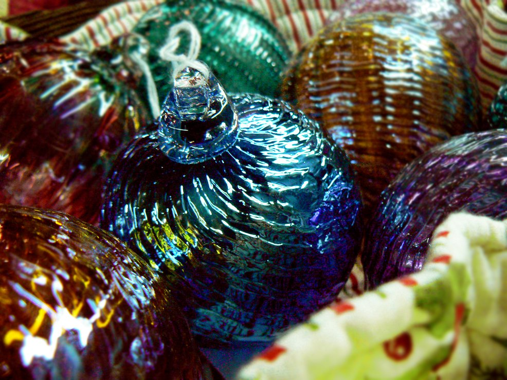 Handblow glass ornaments from Delish Glass in Rochester.