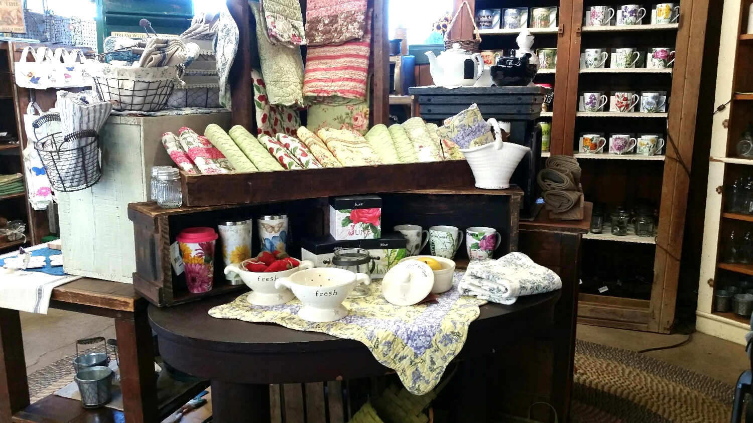 New quilted patterns, and pretty new pottery.