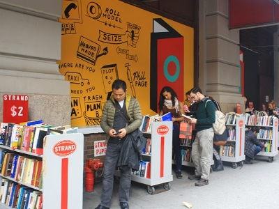 Why window show when you can street browse?    Photo courtesy of Strand Book Store