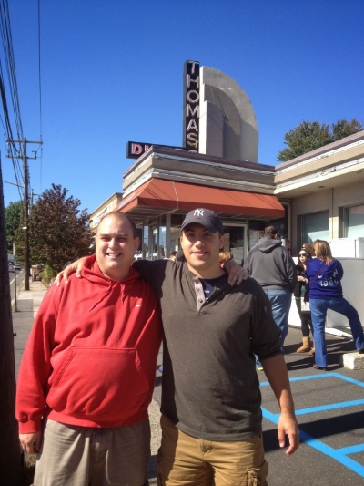 Stevo and I in front of our favorite N.Y. diner.