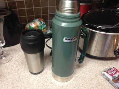 A green thermos full of ideas...no, it's just coffee...