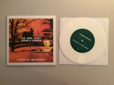 """""""The Kids Don't Stand A Chance"""" by Vampire Weekend    45 single pressed on limited edition white vinyl, U.K. import"""