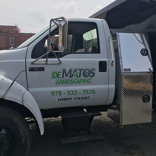 Big and small-we do it all! #printshop #danvers #massachusetts #vinylgraphics #cmyk #pantone #squeegee #signguy #onsite #installation #f650 @dematoslandscapinginc