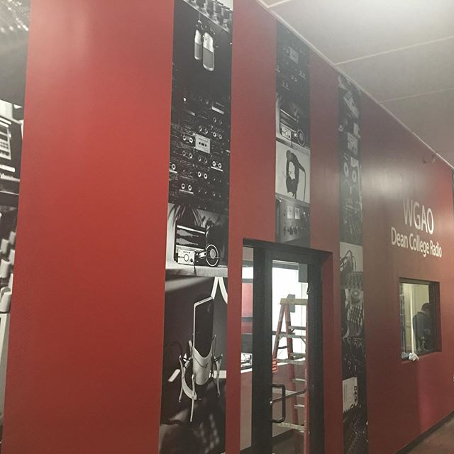 This seems appropriate for the first day of school for many. Some wall graphics for @deancollege radio station last week. #vinylwrapping #vinylgraphics #mattefinish #blackandwhitephotography #bnw #onsite #install #betterthanwallpaper #cmyk #pantone #deancollege #printshop #northshore #massachusetts
