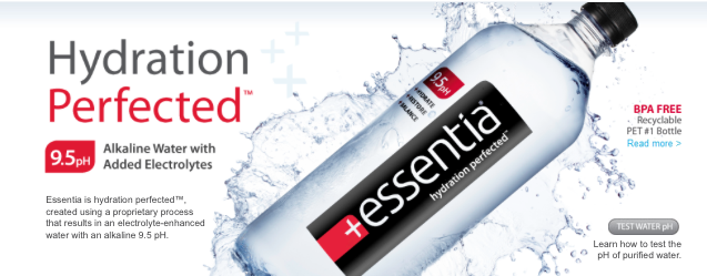 It takes hydration to the next level.   We created Essentia to help you get the most out of the water you drink. Proper hydration is essential to good health. When your body is dehydrated, your joints get stiff, your muscles get sore, your concentration and performance fade – just to name a few. Drinking sufficient water every day will keep you hydrated and give your body energy to function at its best. Essentia's hydrating qualities come from our proprietary electrolyte formula, ionization process resulting in a alkaline pH of 9.5.  Most bottled waters offer purity but no additional benefits. Essentia's proprietary process adds the perfect blend of electrolytes to purified water and then is ionized, creating a distinctive alkaline 9.5pH water to help your body stay properly hydrated.