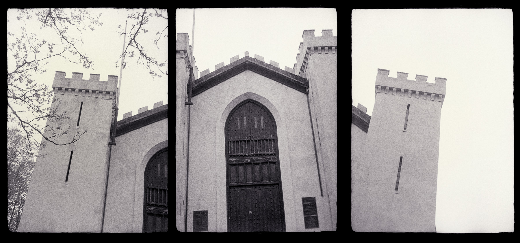 "This is the Benefit St. Armory in Providence photographed with a Chaika half-frame camera. This is the building that I like to point out to anyone who will listen that was moved in 1906 (rolled on logs, mind you) to its present location in order to make way for the east side railroad tunnel, which lies a couple hundred yards to the south. The west portal of this tunnel was the site of the May Day ""riot"" in 1993, where some student partying got out of hand. This lead to the tunnel being sealed up. May Day became associated with the Communists in the 20th Century. Now that area is a parking lot. So it all comes together. Sort of."