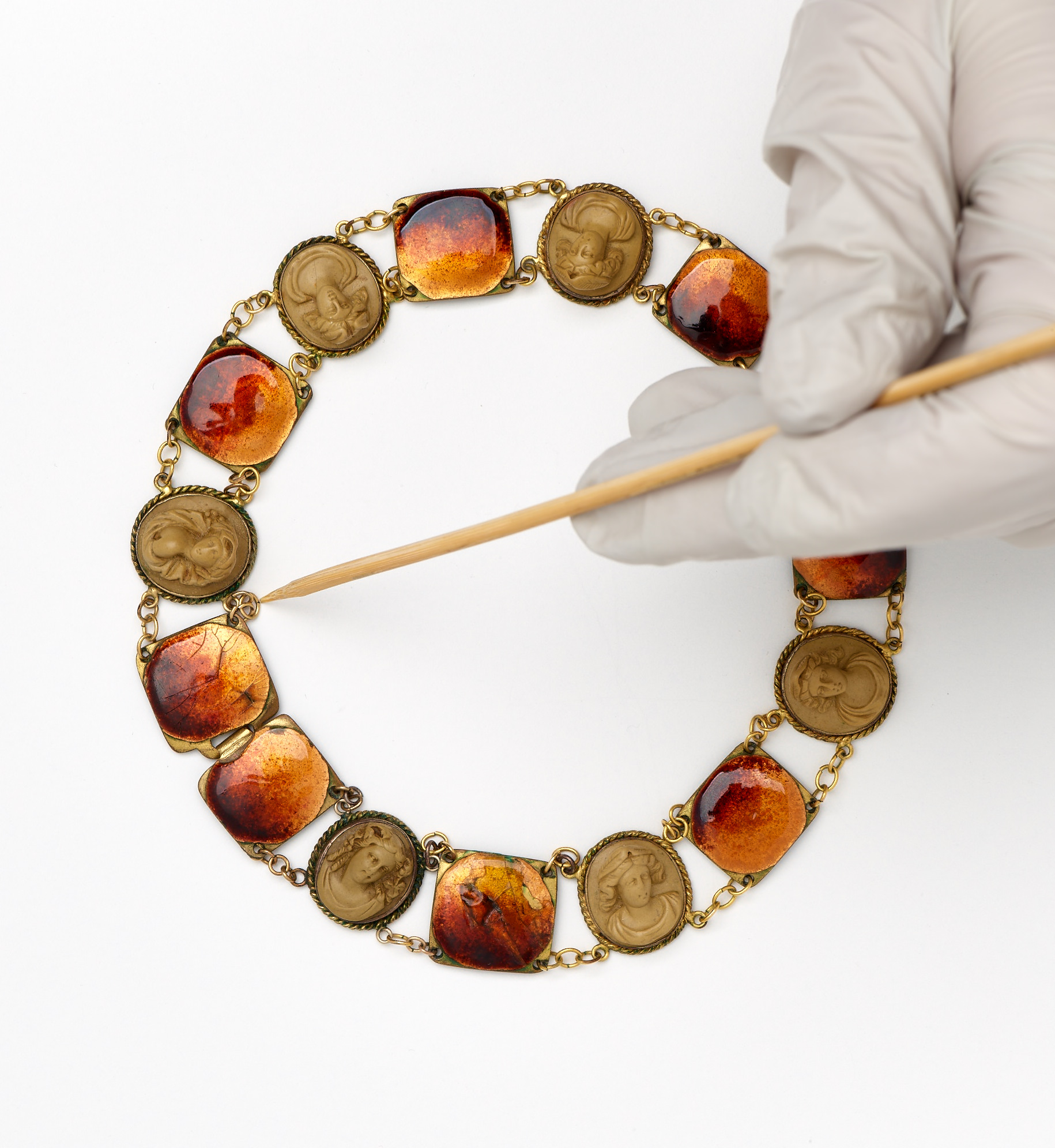 Working on a piece in the RISD Museum collection; Mae Luther,  Necklace,  ca. 1930,  2000.51