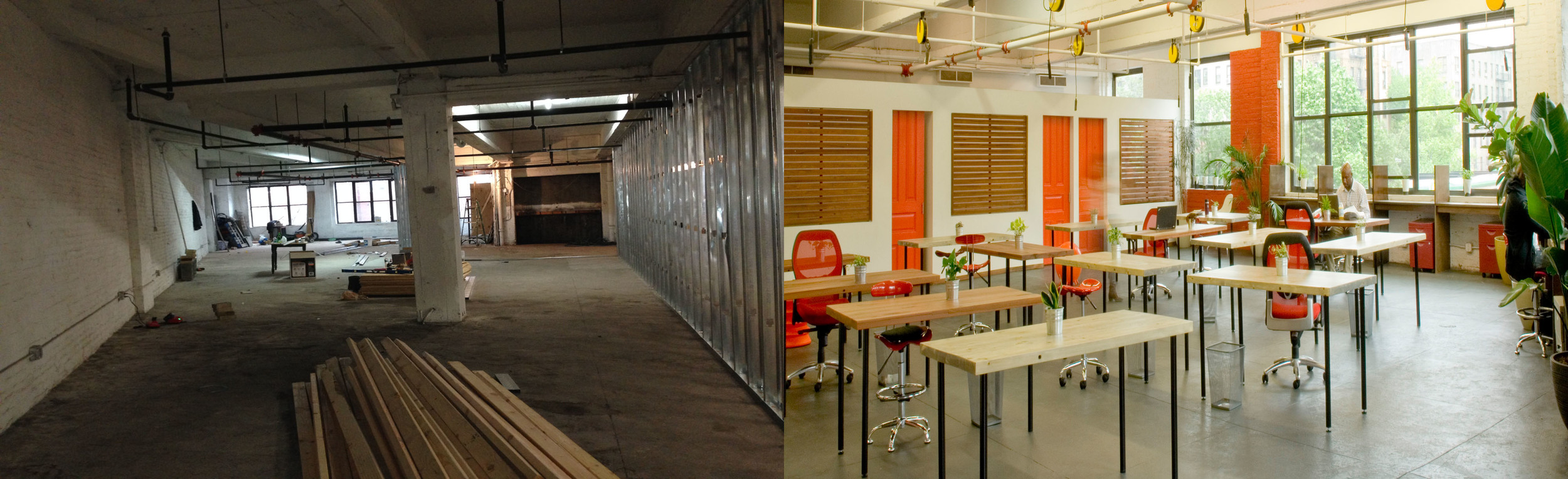 Compound Cowork:  We transformed a raw, commercial space into a coworking facility, where we provide members with alternative office environments, a community meeting space, and more. Click on the photo for more information.