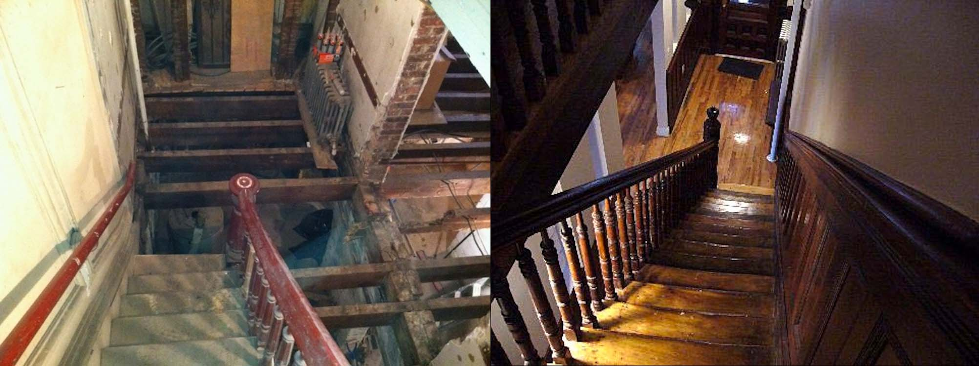 Harlem Brownstone Renovation:  In this project, we completed a complete gut renovation to bring an old, dilapidated brownstone back to life, with exposed brick and beautiful woodwork. Click on the photo to see a full gallery of images.