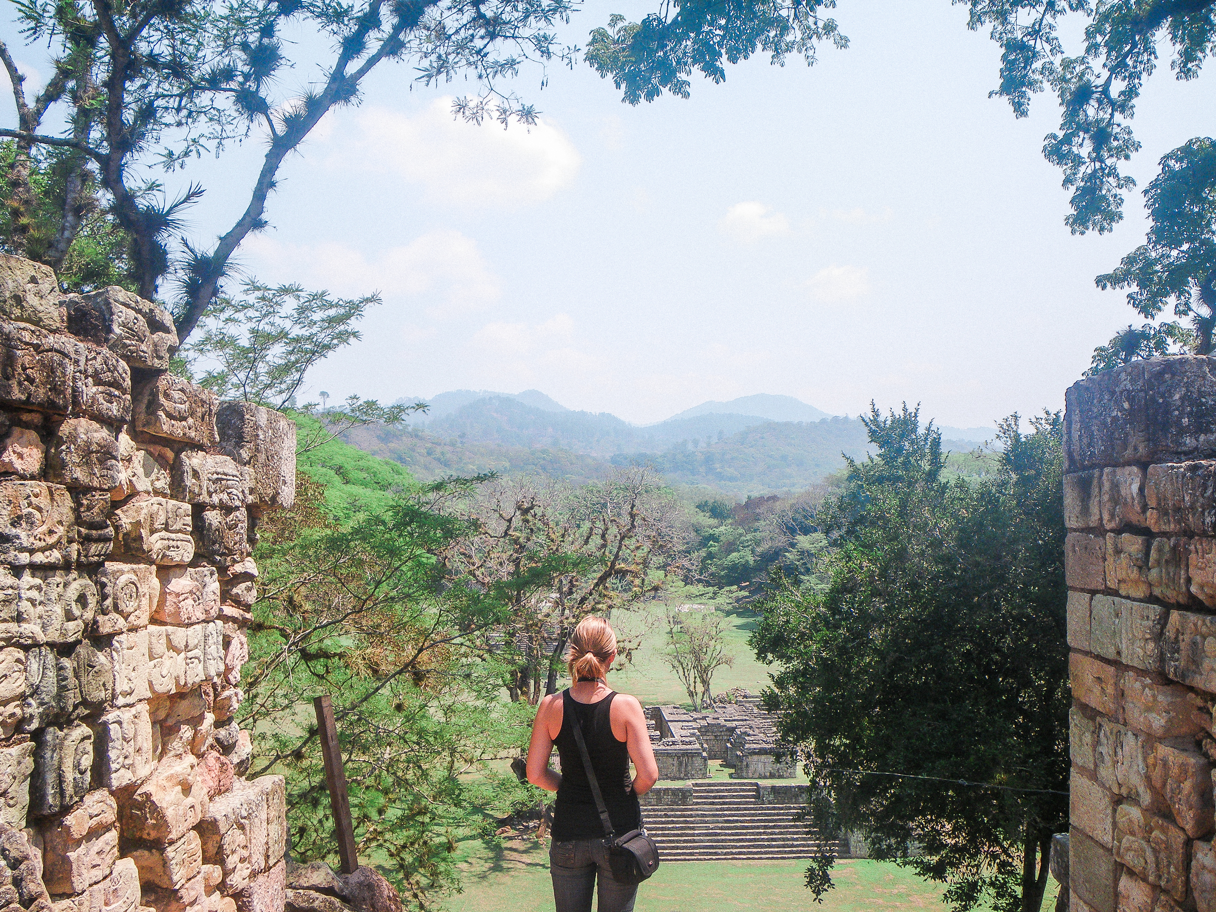 This is from that very backpacking trip -the day we visited Cop á n in Honduras. Stunningly beautiful and a little haunting to stand within the ruins. But imagine waking up each day to that view....