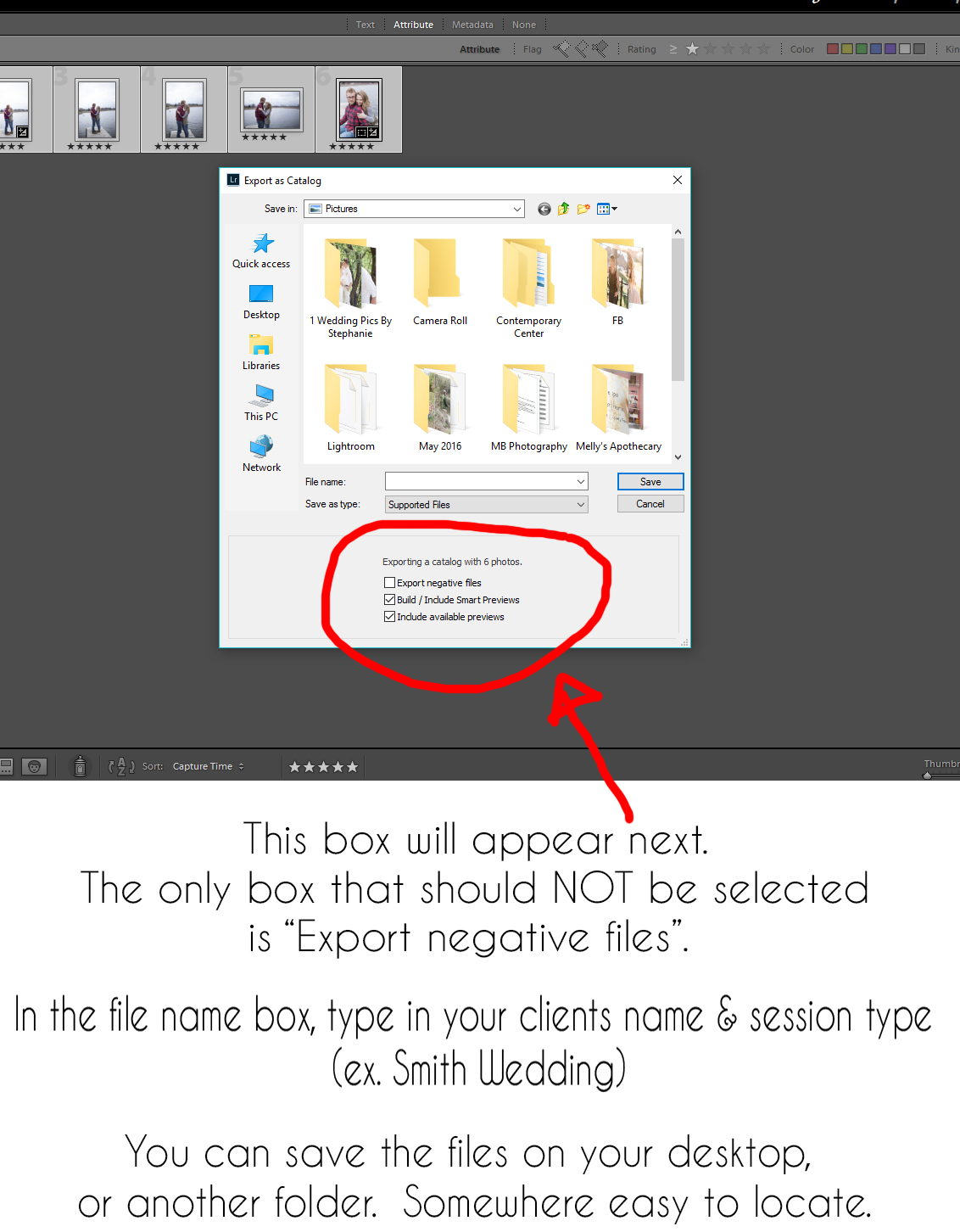 """STEP FOUR - EXPORT SETTINGS -    IF you have selected pictures that are your culled images, there will also be a 4th box that says """"export selected pictures only"""" and you will want to click that box!"""