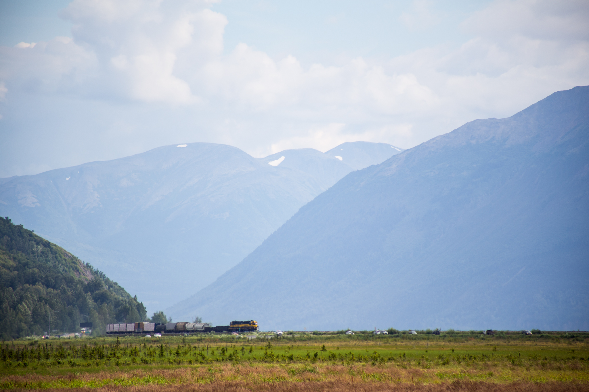 The Alaskan Railroad which sort of runs parallel to the Seward Highway.