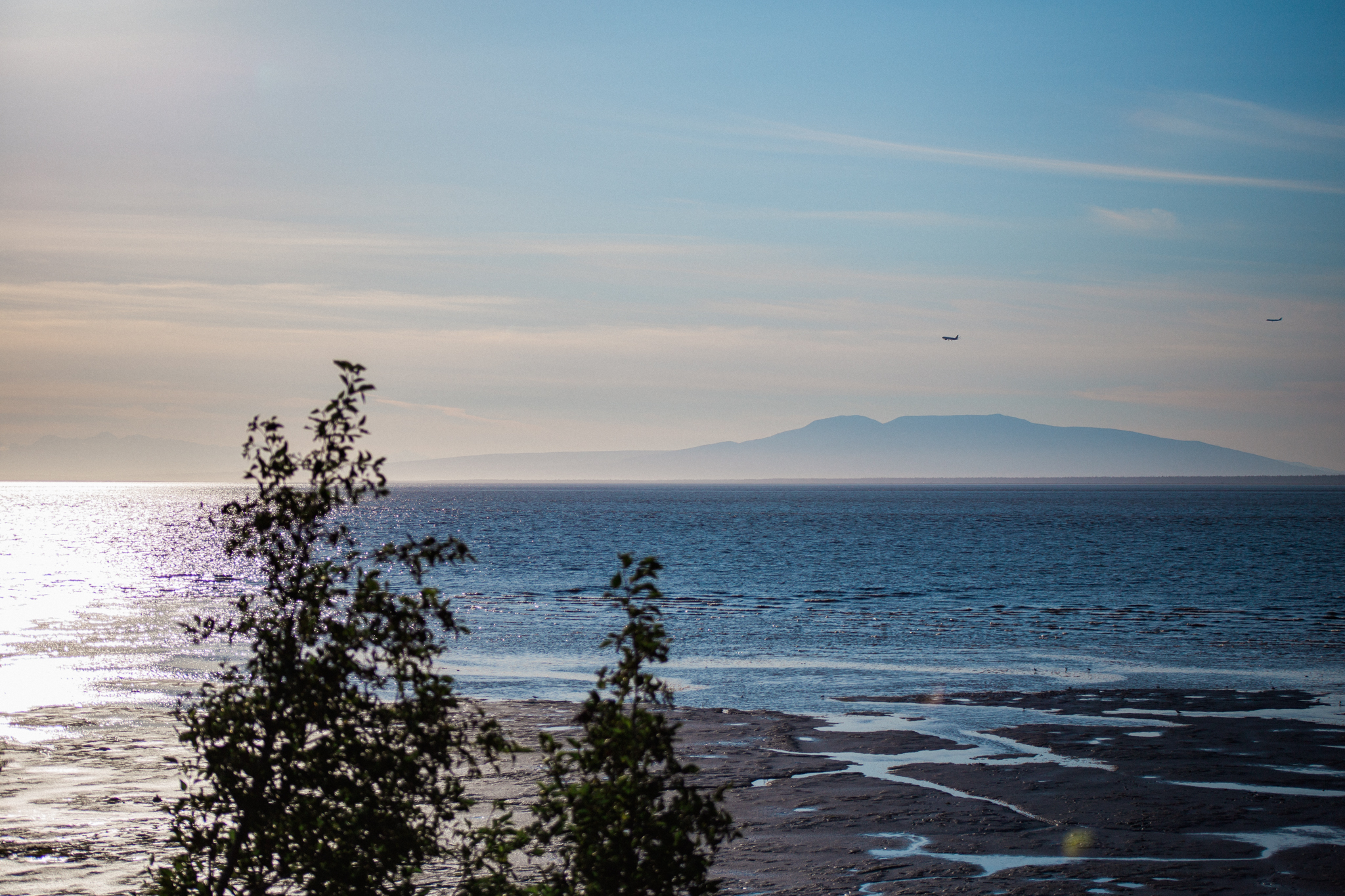 Watching airplanes fly in over the beach in Anchorage.