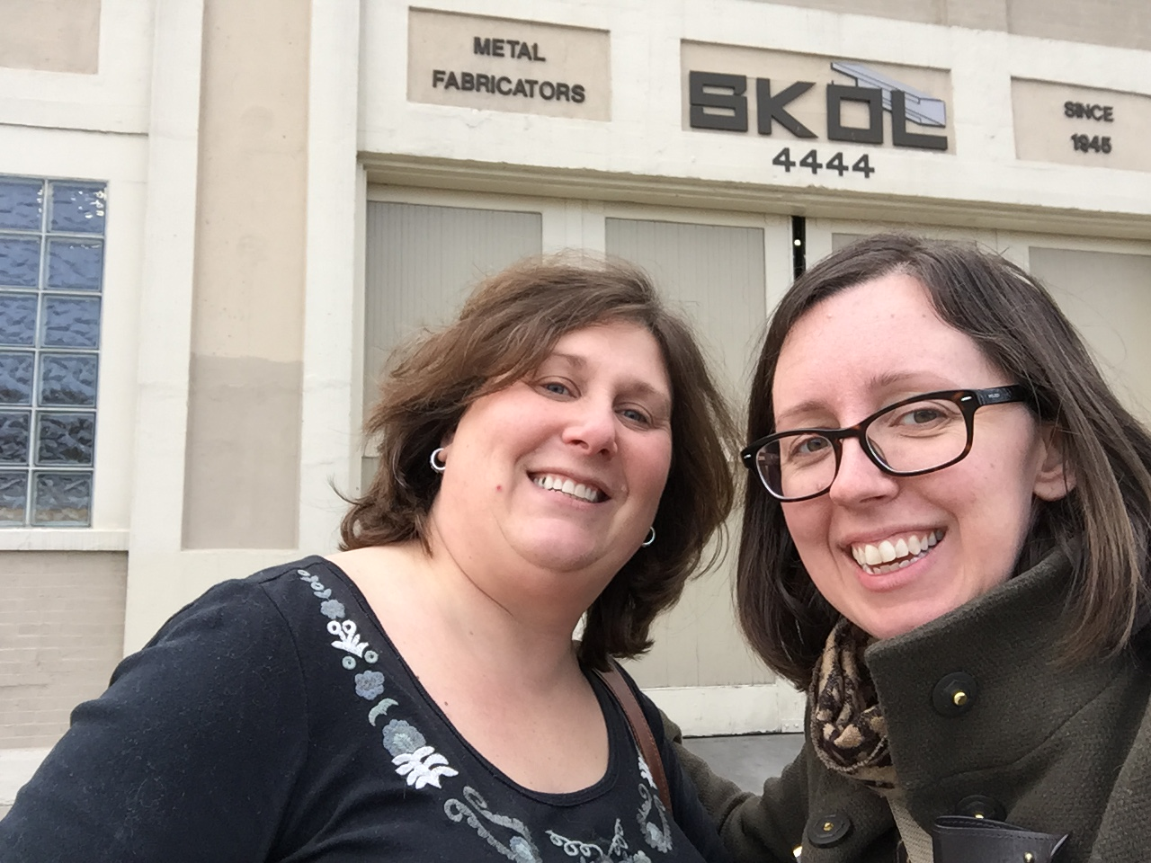 Gayle and Emily visiting Chicago's Skol Metal Fabricators in the Ravenswood Industrial Corridor