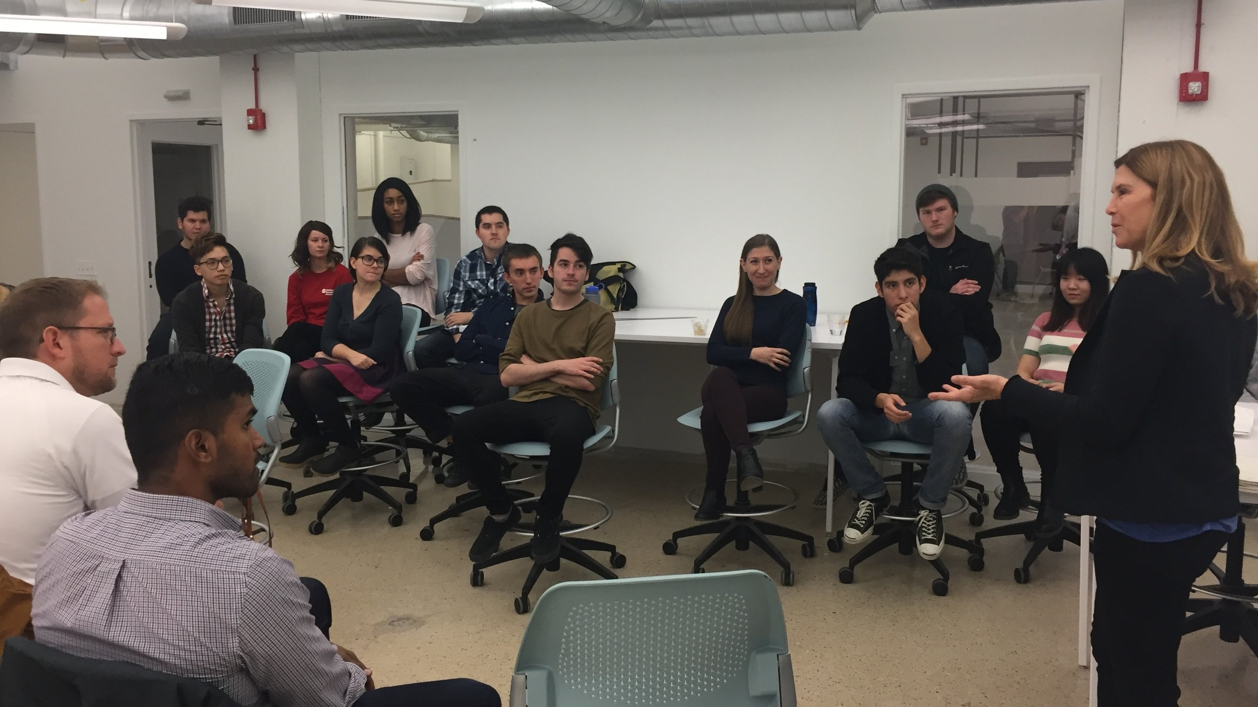 Cece Matot, Co-President of Matot, speaking with University of Illinois, Chicago Industrial Design students
