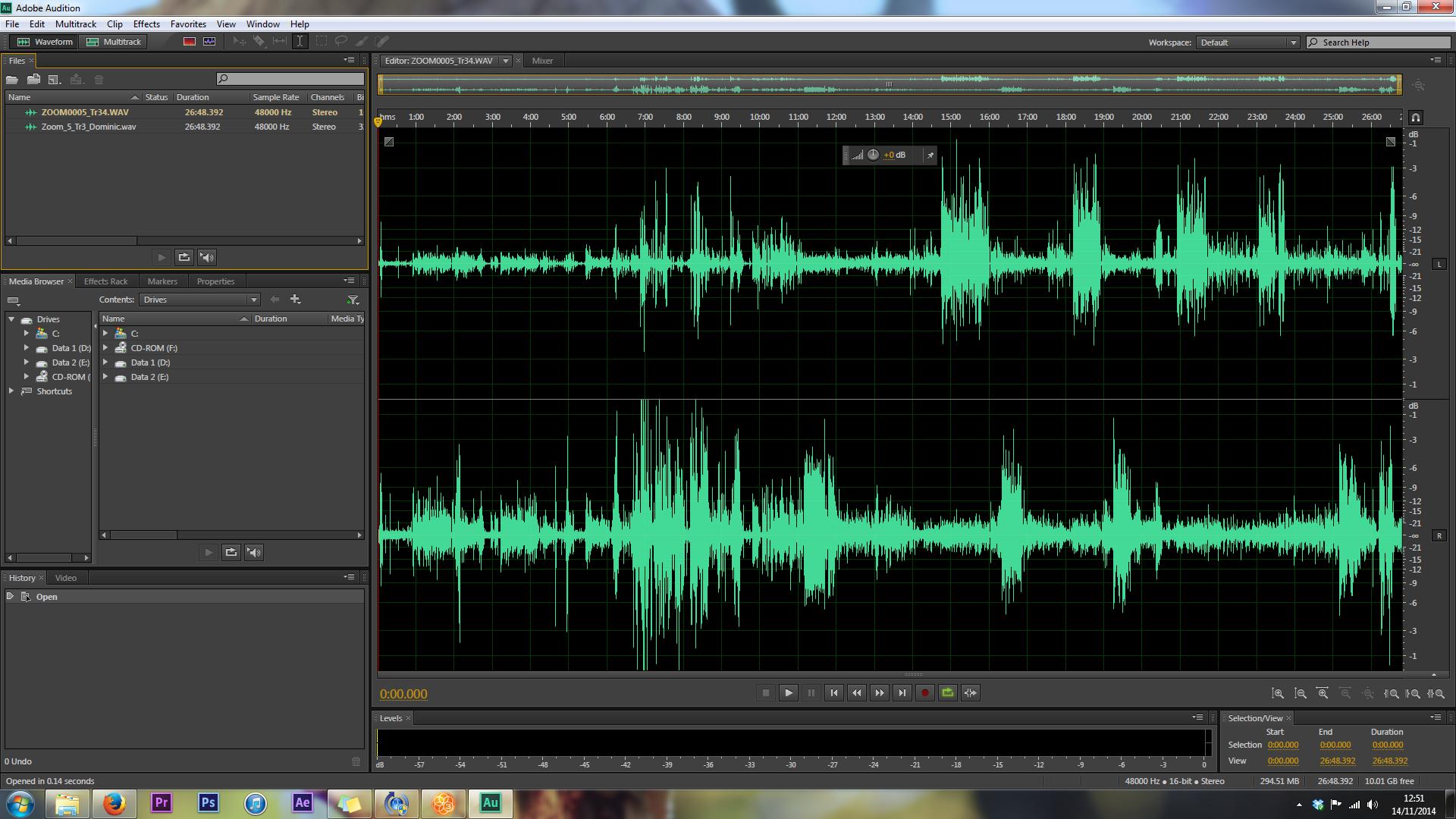 splitting stereo track mix adobe audition APV