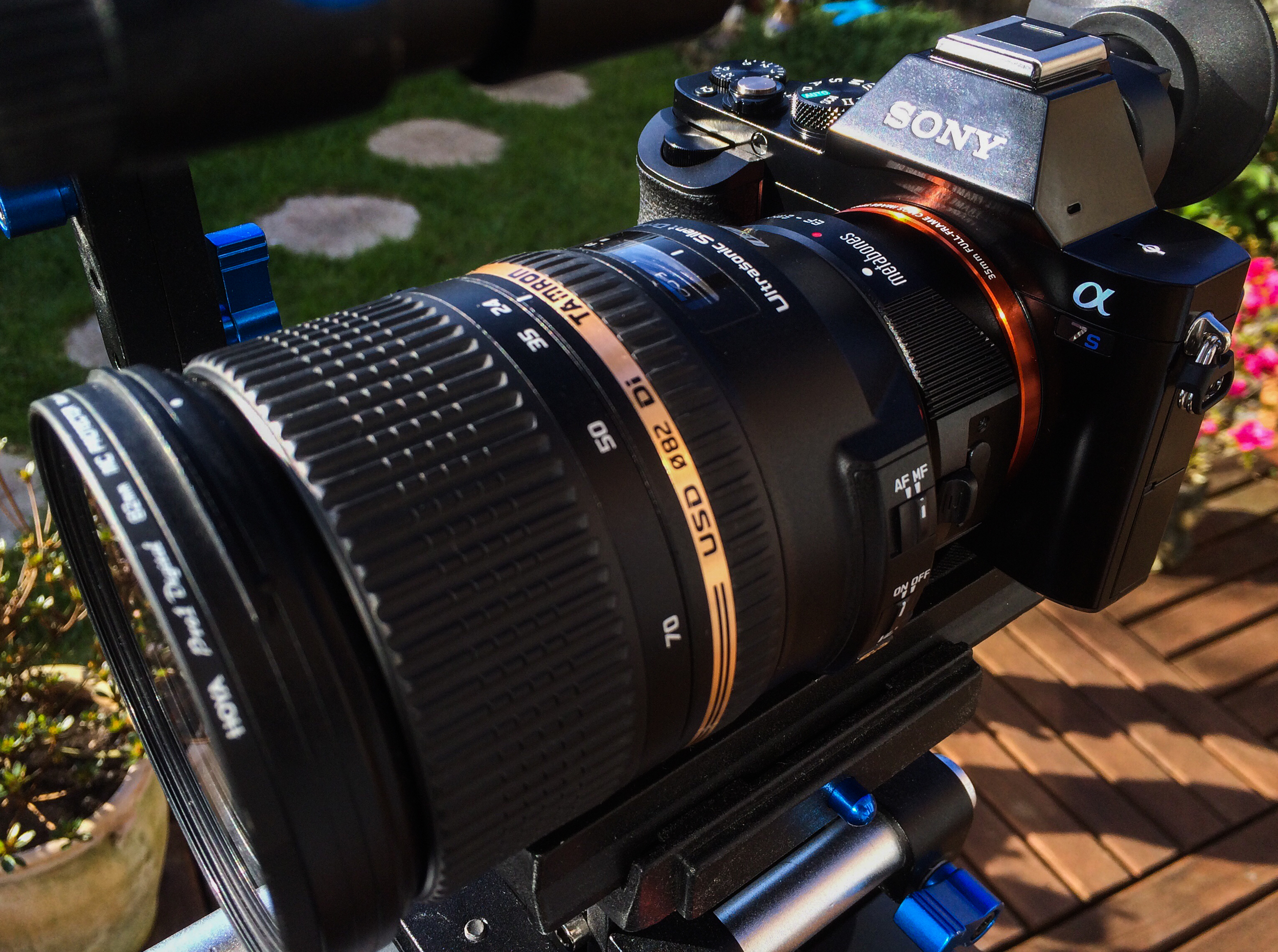A7S and Tamron 24-70 with metabones in the cage. Soon to be replaced by the Movcam rails kit.
