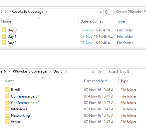 editing and footage file structure