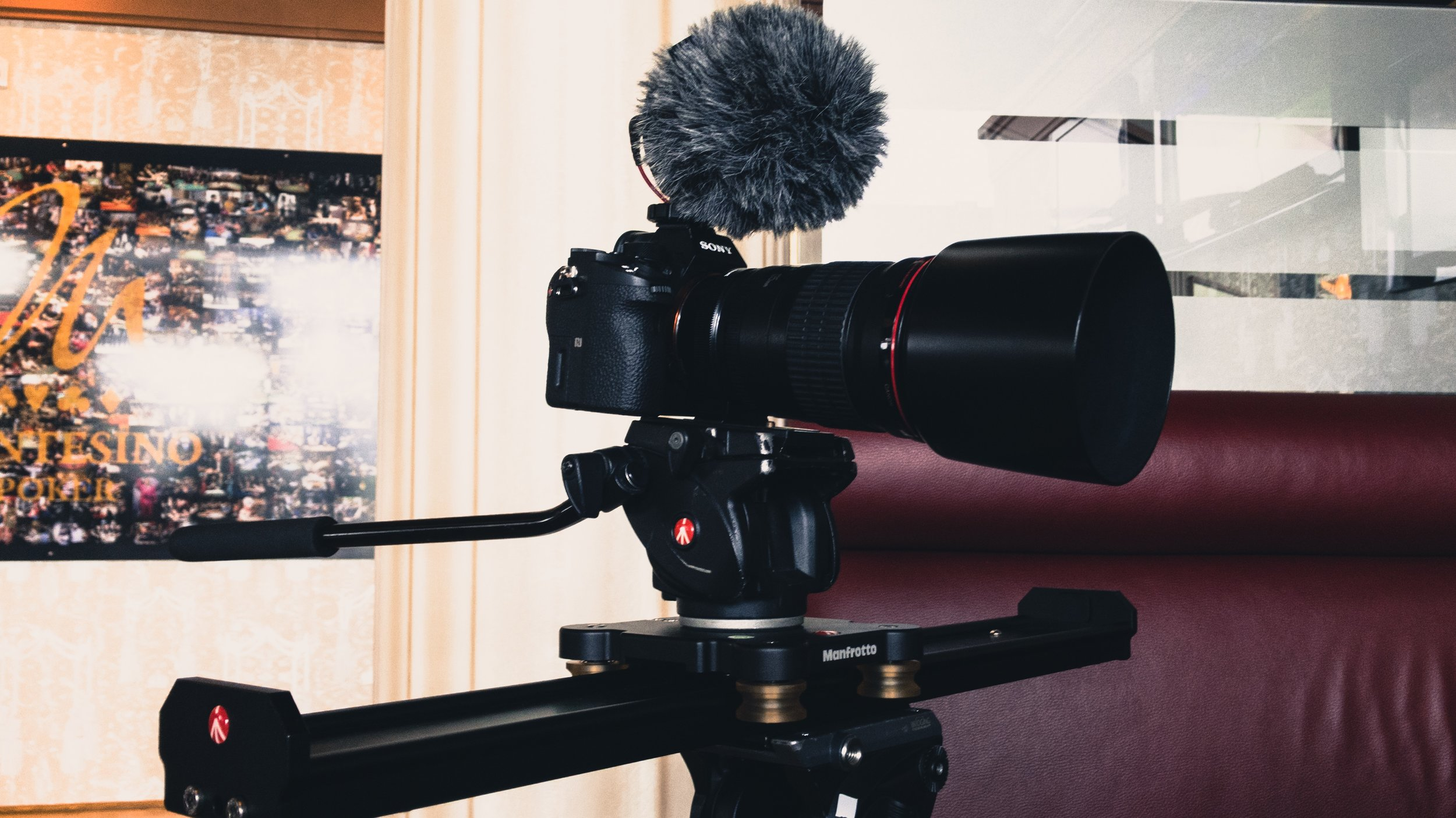 Manfrotto Slider 60cm setup with Sony a7S II, Canon 135mm and Rode Videomicro