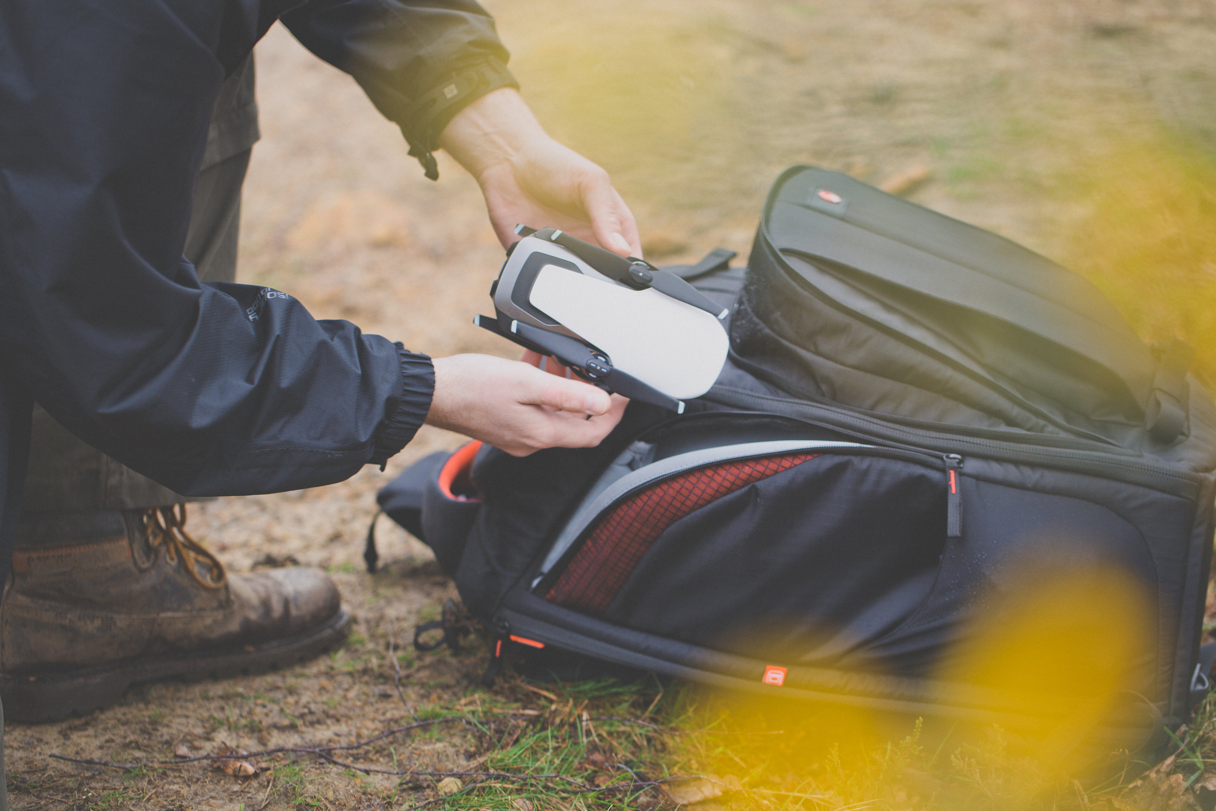 The DJI Mavic Air is a fantastic addition to the kit bag (Manfrotto Pro Light Cinematic Expand), and fits into the bag very well!