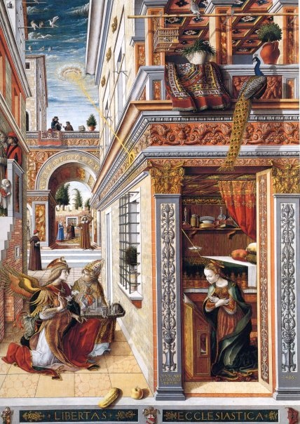 "This painting is by Carlo Crivelli (1430-1495) and is called ""The Annunciation with Saint Emidius"" and hangs in the National Gallery, London. A disk shaped object is shining a beam of light down onto the crown of Mary's head."