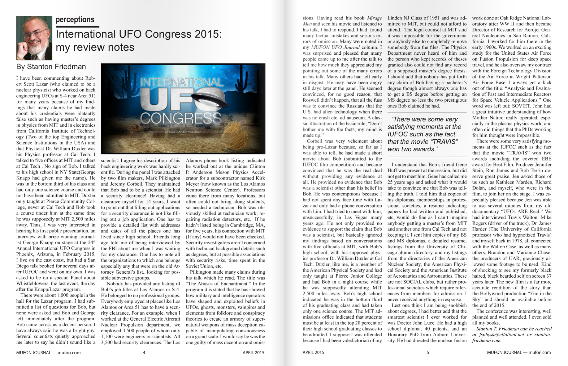 MUFON JOURNAL - APRIL 2015