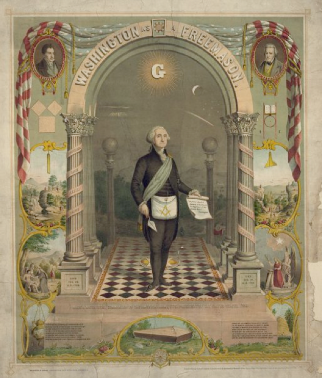 In 2009, Corbell discovered this image of a lithograph in the Library Of Congress archives. It was created in 1866 depicting George Washington as a Mason. Corbell was struck not by the Masonic symbols, but rather by the curious disc shaped object in the left inner-arch that seems to be shown with a Jacob's Ladder.