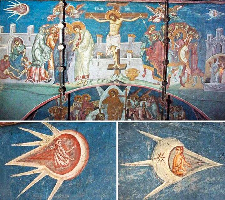 "Metohia, Yugoslavia - Visoki Decani Monastery - fresco above the sarcophagus of King Stefan titled ""Crucifixion"". Painted in 1350."