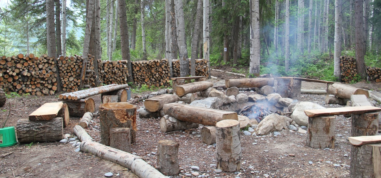 Feel free to sit down at a cozy fire with free fire wood and free marshmallows.