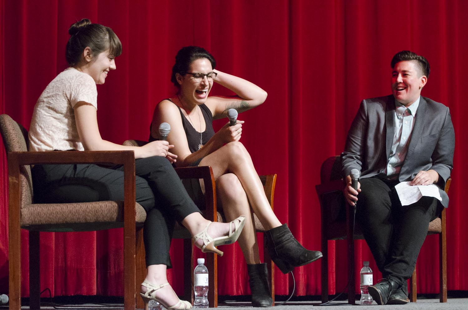 Iranian American filmmaker Desiree Akhavan (middle) 's Q&A session for her bew film  Appropriate Behavior