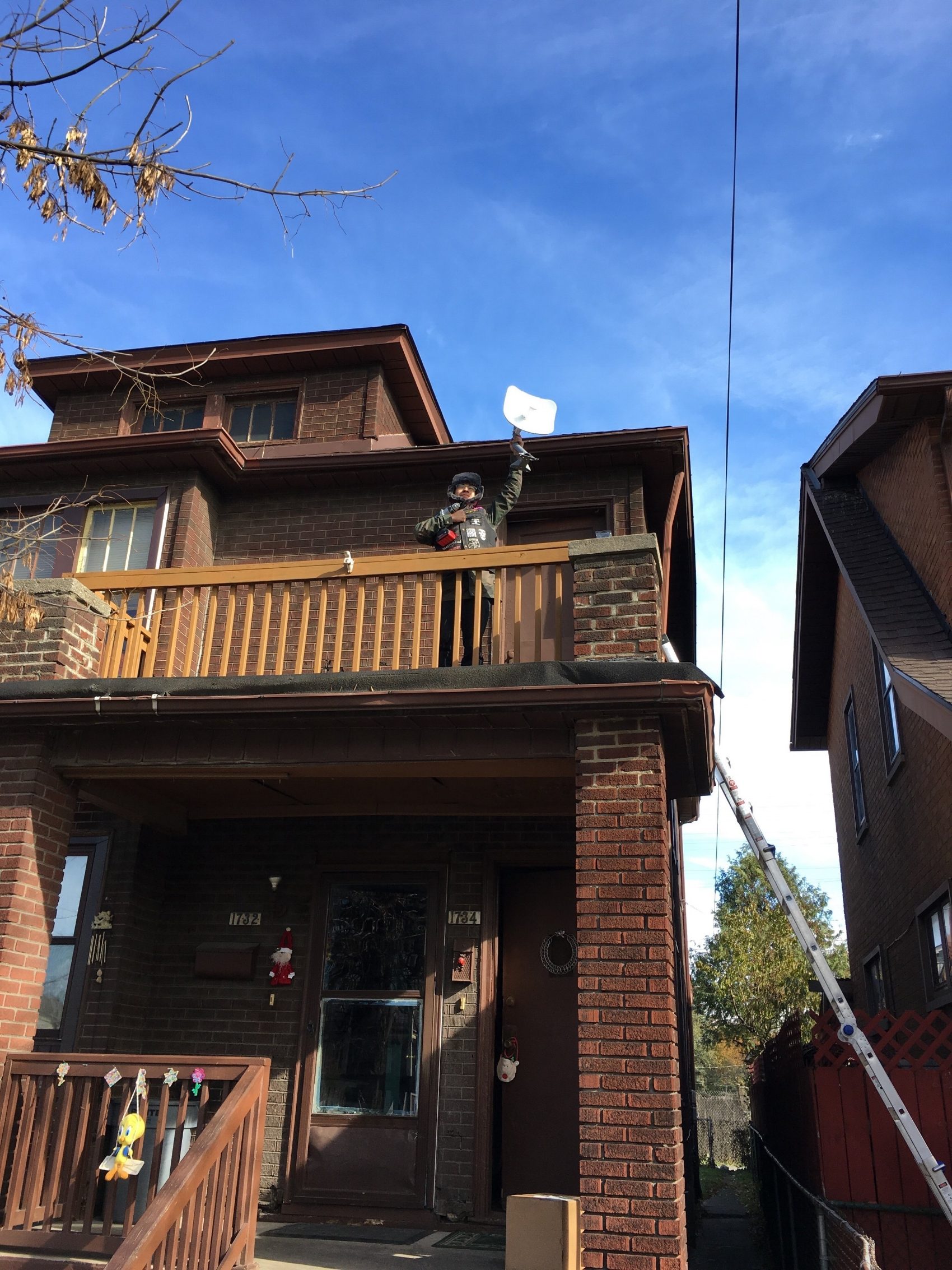 Installing a point to point router onto a neighbor's house in SWD.