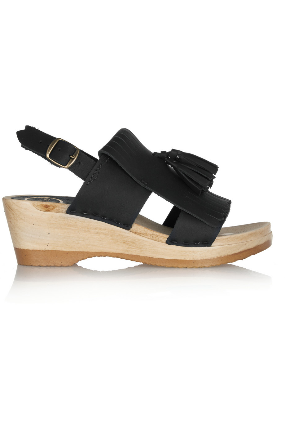 No.6 Store  Tasseled Leather Wedge  and  Nubuck Sandal