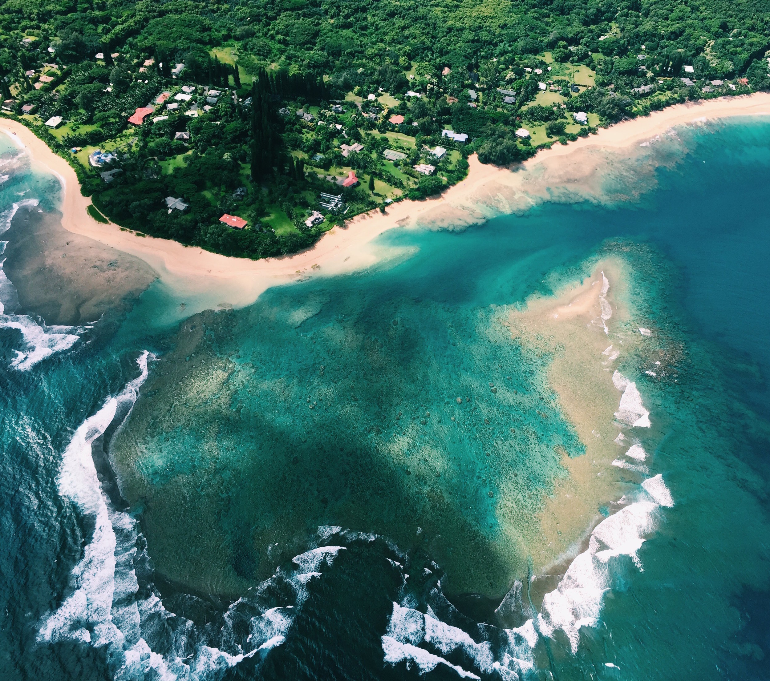 Tunnels Beach and reef from above