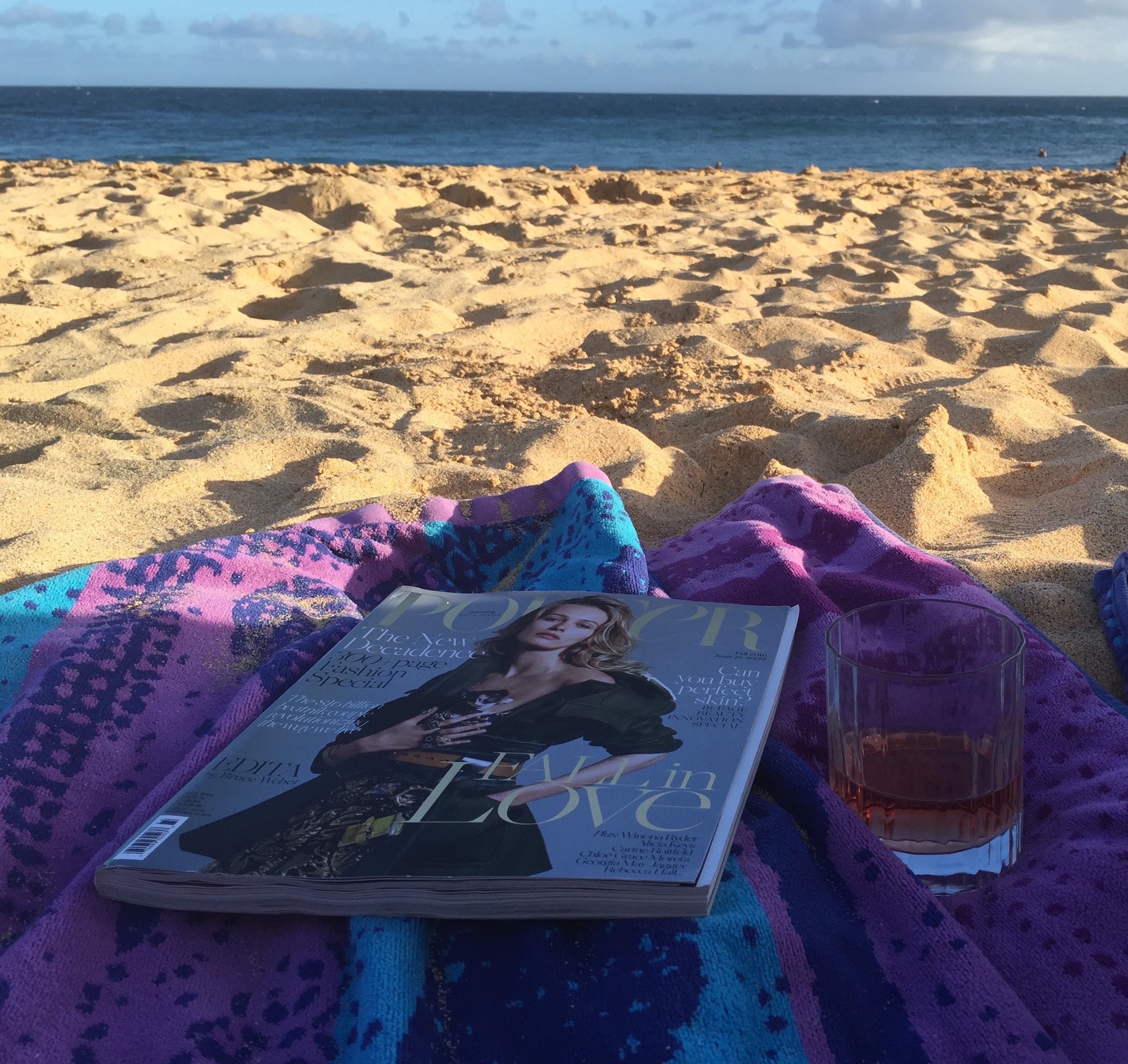 My favorite magazine and some rosé on the beach.