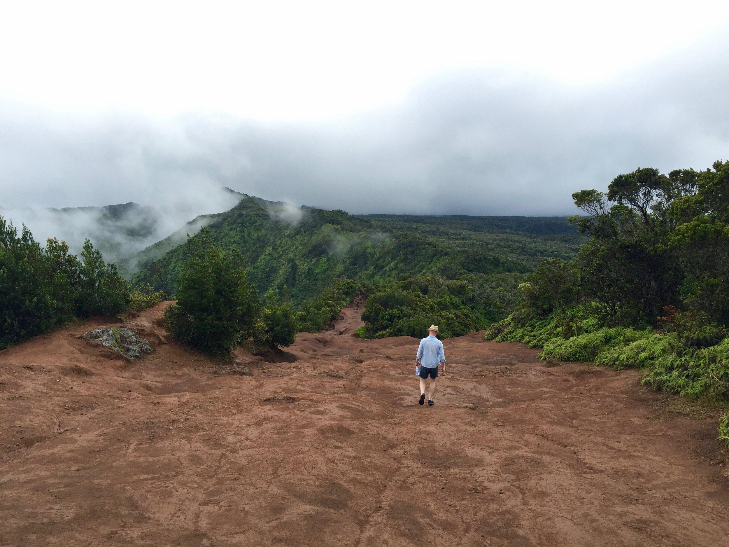 Hiking along the rim of the Kalalau Valley.