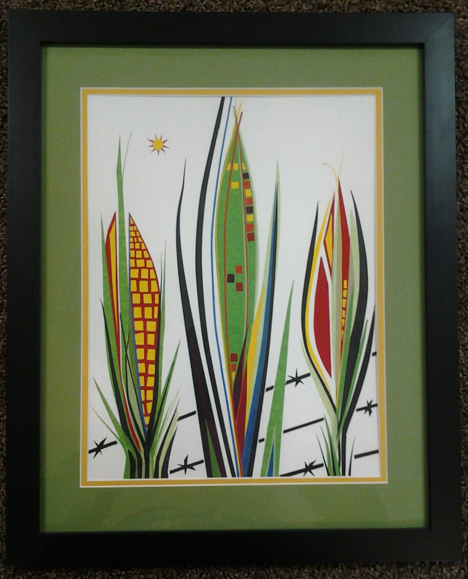 """Corn on the Cob"" original masking tape art by Beth Detwiler- $375 (18"" x 22"")"