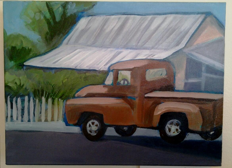 """Dodge on Main"" original acrylic by Ellen Jo Roberts - $116 (12"" x 9"")"