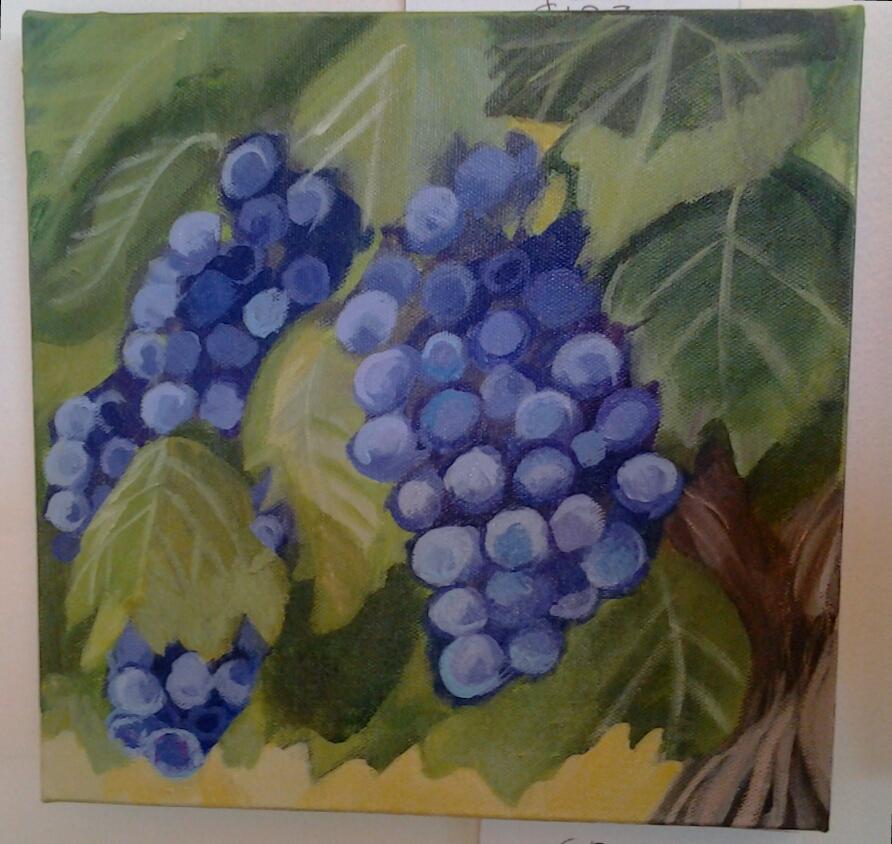 """""""Grapes"""" original acrylic by Ellen Jo Roberts - $123 (10"""" x 10"""")"""