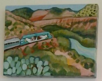 """""""River and Rails"""" original acrylic by Ellen Jo Roberts - $116 (12"""" x 9"""")"""