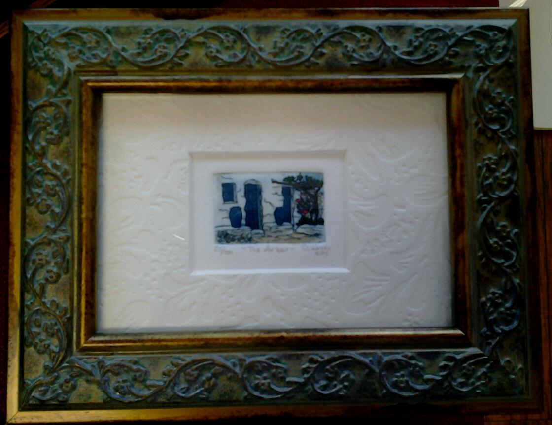 """The Arbor"" original hand-colored etching by Deborah Hiner - $32 (6"" x 4"")"
