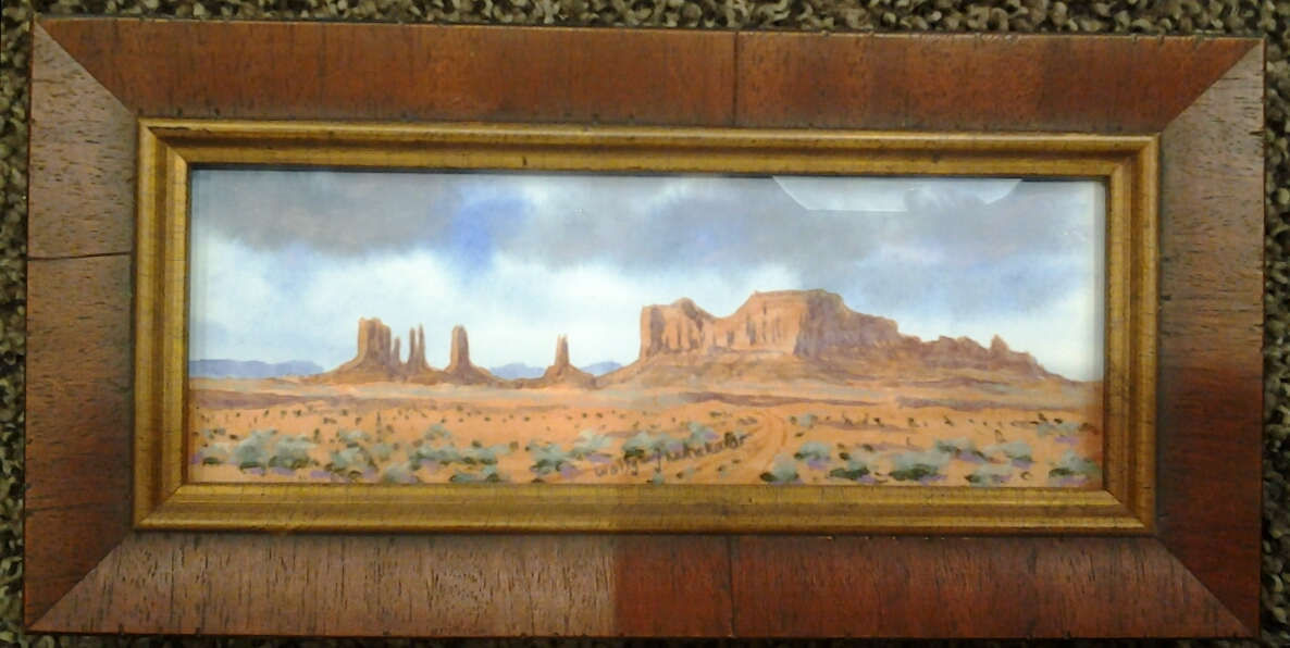 """""""Stagecoach Mesa - Monument Valley"""" original watercolor/pastel by Wilfgang Lehnhardt - $130 (10"""" x 5"""")"""