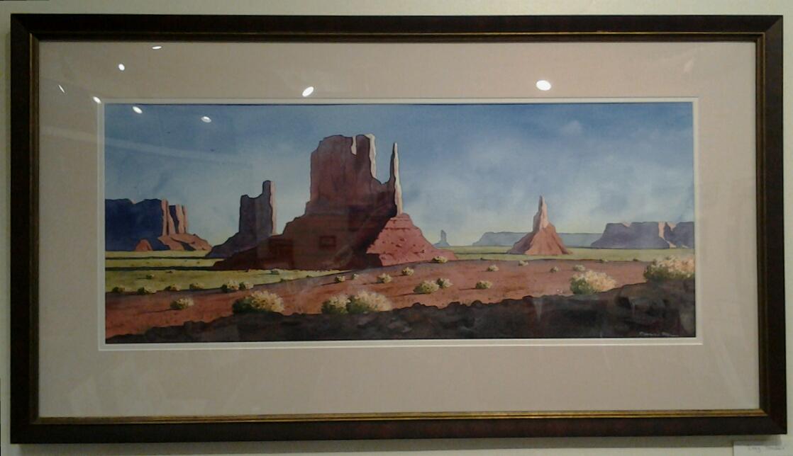 """Long Shadows"" original watercolor by Pierre Mion - $1,300 (37"" x 20"")"