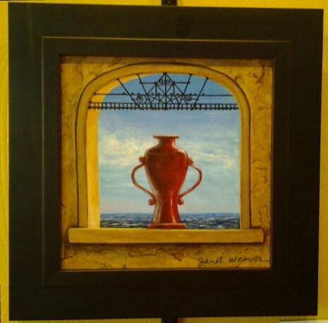 """Scarlet Watcher"" original oil by Janet Weaver - $198 (11"" x 11"")"