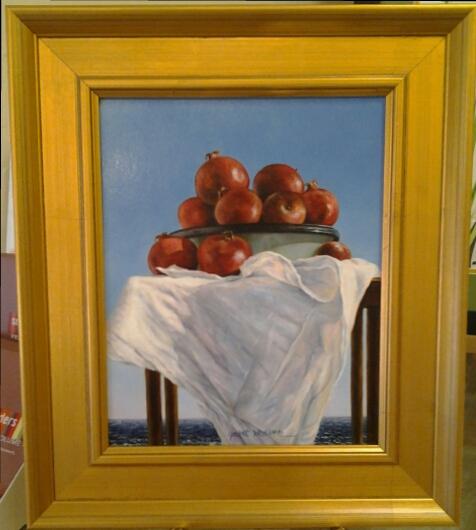"""Pomegranates XXXI"" original oil by Janet Weaver - $198 (12"" x 14"")"
