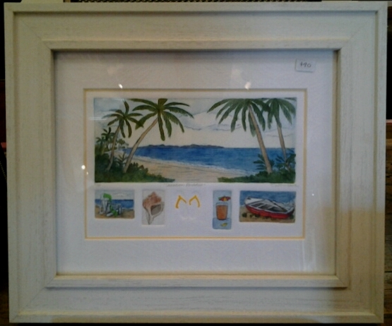 """""""Vacation Paradise"""" original hand-colored etching and embossing by Deborah Hiner - $90 (12.5"""" x 10"""")"""
