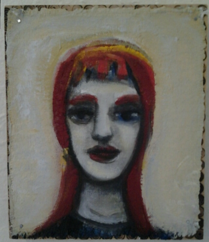 """Portrait"" original acrylic and wood burning by Beth Detwiler - $95 (6"" x 7"")"