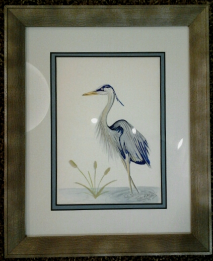 """Heron No. 4"" original watercolor by Chokri Aoaud - $98 (9"" x 11"") - SOLD"