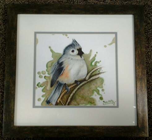 """Tufted Titmouse"" original watercolor by Chokri Aoaud - $265 (17"" x 16"")"