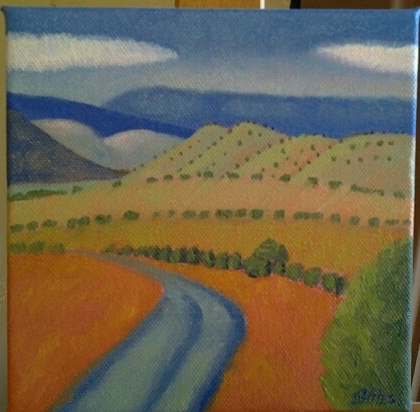 """Foothills"" original oil by Ramona Stites - $115 (6"" x 6"")"